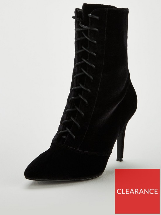 c242e40e1f V by Very Wide Fit Fifi Point High Heel Lace Up Boot - Black | very ...