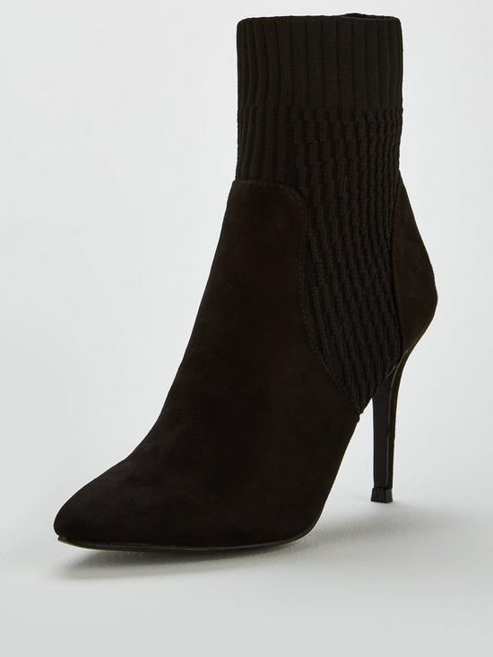 b1091f1202d V by Very Jenna High Heel Knitted Sock Boot - Black
