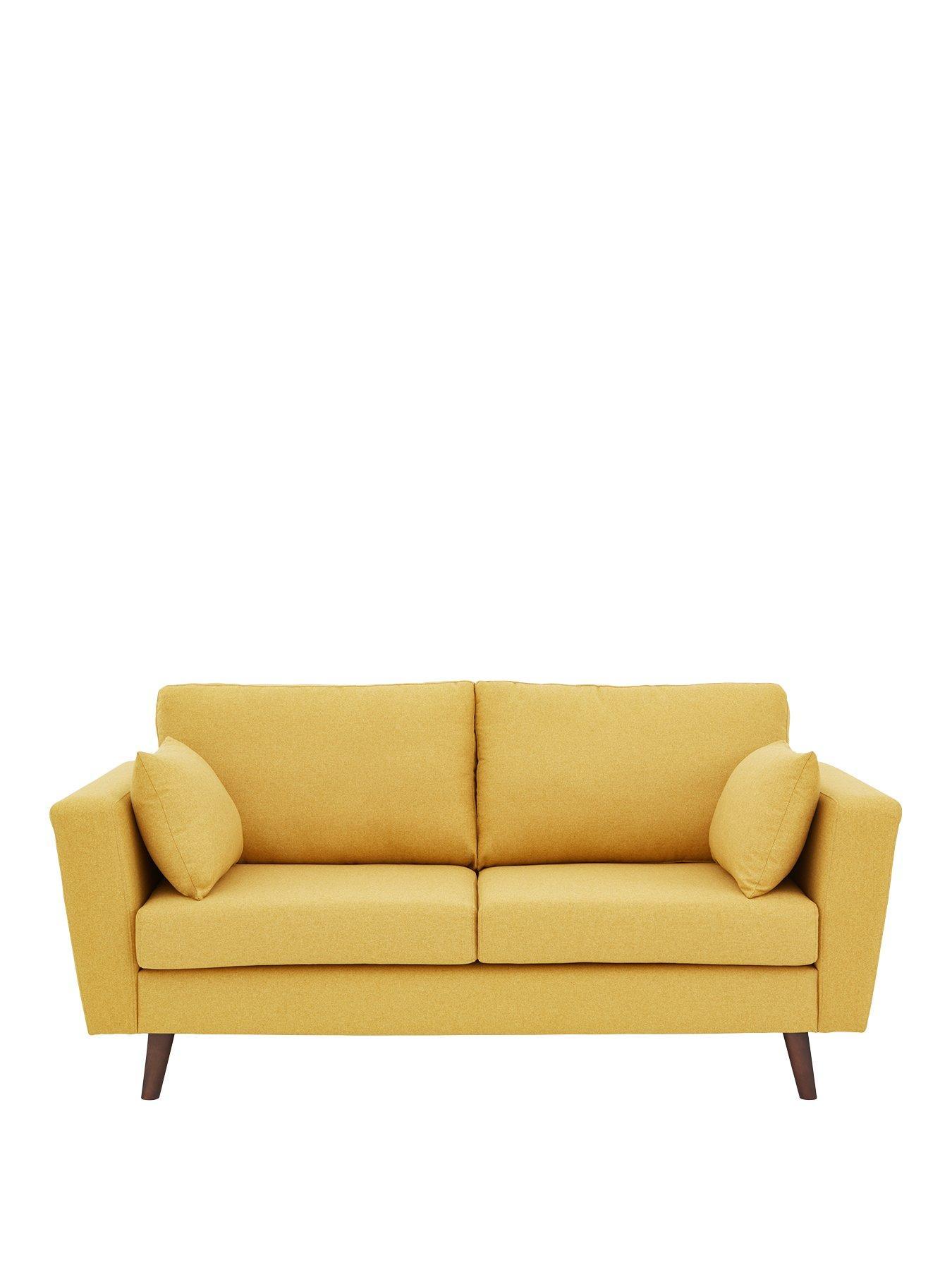 Beau Ideal Home Porter Fabric 3 Seater Sofa   Mustard