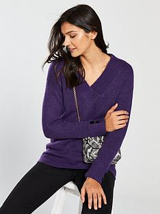 v-by-very-cross-over-v-neck-button-cuff-longline-jumper-vibrant-purple