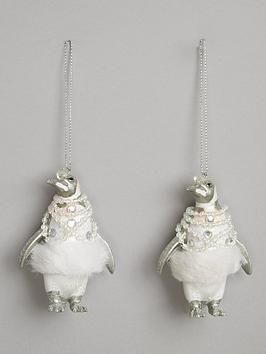 gisela-graham-shiny-white-resin-dressed-penguin-christmas-tree-decorations-2-pack