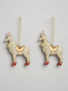 gisela-graham-set-of-2-resin-llama-hanging-christmas-tree-decorations
