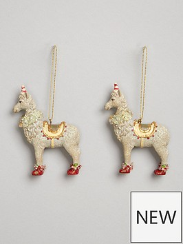 gisela-graham-set-of-2-resin-llama-hanging-christmas-tree-decorations