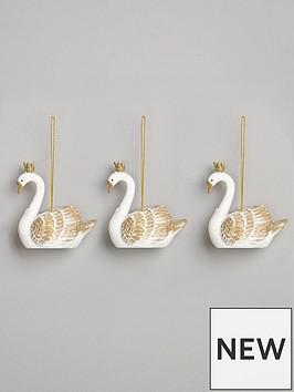 gisela-graham-pack-3-whitegold-resin-swan-dec