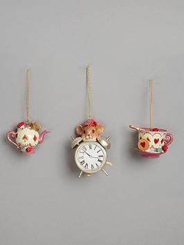 gisela-graham-resin-tea-pot-cupsaucer-and-clock-with-mouse-christmas-tree-decorations-set-of-3