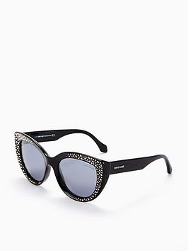 Roberto Cavalli Shiny Embellished Sunglasses - Black