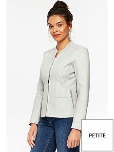 wallis-petite-houston-pu-jacket-grey