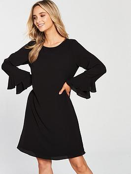 wallis-double-flute-sleeve-dress