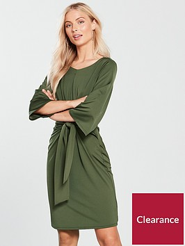 wallis-tie-front-jersey-dress-khaki