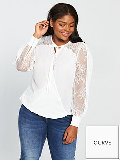 v-by-very-curve-lace-sleeve-wrap-blouse-ivorynbsp
