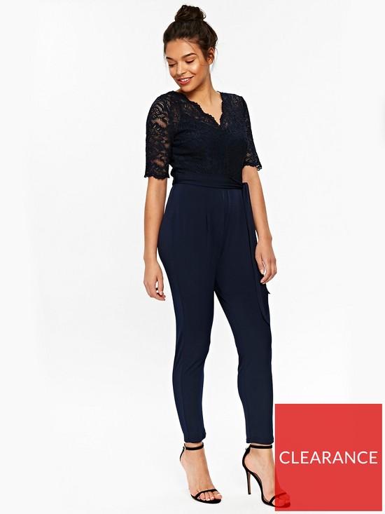3168e388c50 Wallis Lace Top Jumpsuit - Ink Navy