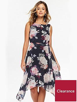 wallis-fit-and-flare-dress-printed