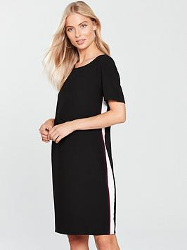 wallis-side-stripe-shift-dress-black