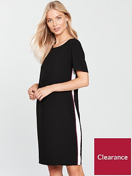 wallis-side-stripe-shift-dress-black