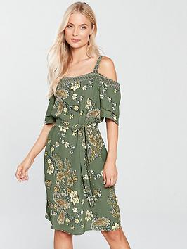 wallis-tapestry-cold-shoulder-dress-khakinbsp