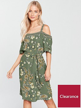 wallis-tapestry-cold-shoulder-dress-khakinbsp