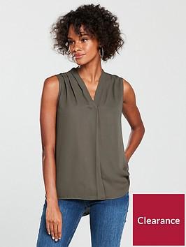 wallis-sleeveless-pleat-neck-top-khakinbsp