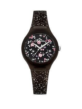 cath-kidston-ckl048bnbsphighgate-ditsy-black-floral-dial-silver-glitter-silicone-strap-ladies-watch