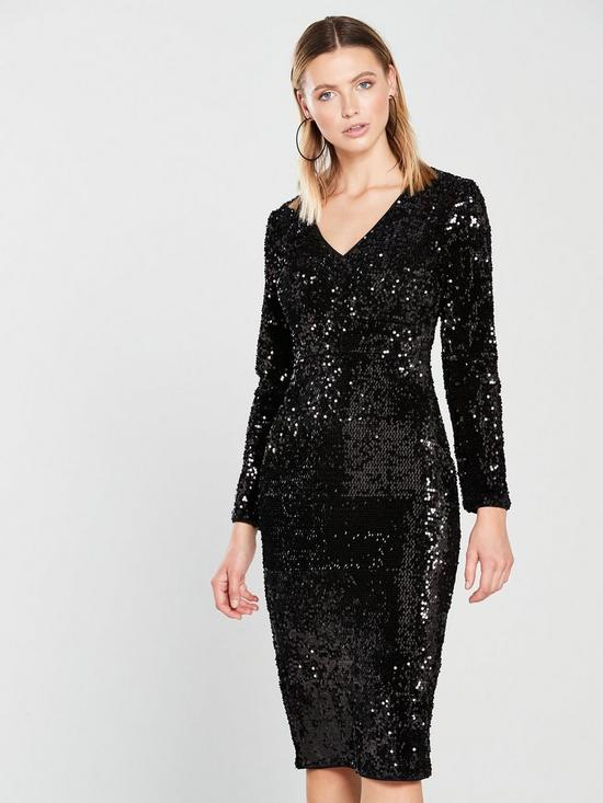 9e0ba7d778f V by Very Plunge Sequin Midi Dress - Black
