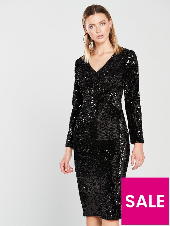 d0a6d46401 V by Very Plunge Sequin Midi Dress - Black