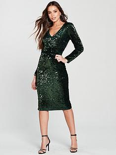 v-by-very-plunge-sequin-midi-dress-green