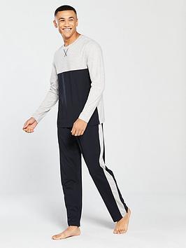 v-by-very-long-sleeve-tee-and-side-stripe-bottoms-loungewear-set-greynavy