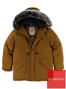 huge selection of 5bc06 b0577 Timberland Boys Faux Fur Hooded Parka