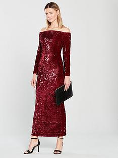 v-by-very-bardot-sequin-maxi-red