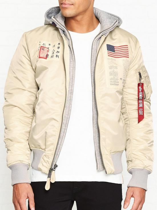 8383ba0a4 MA-1 D-Tech Blood Chit Hooded Bomber Jacket - Vintage White