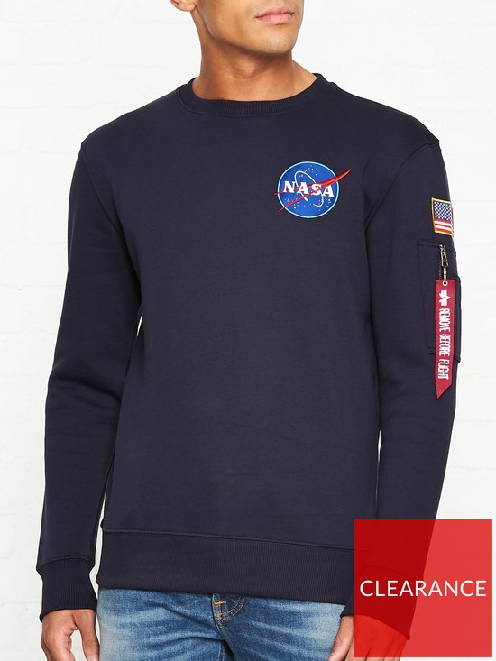 c6bf10b19 ALPHA INDUSTRIES Space Shuttle NASA Sweatshirt - Rep Blue | very.co.uk