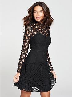 michelle-keegan-high-neck-lace-skater-dress-black