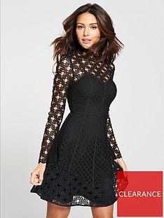 Michelle Keegan High Neck Lace Skater Dress - Black f16166009