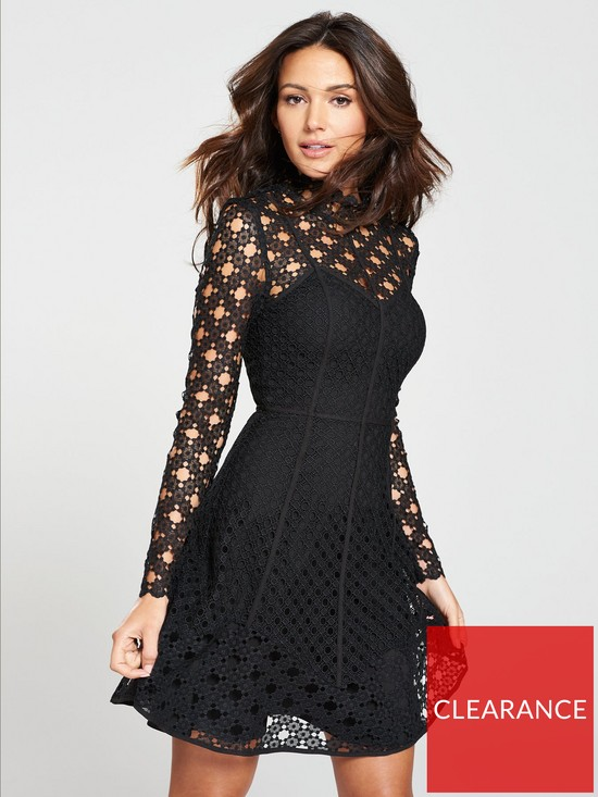 0ac298cfc1f1 Michelle Keegan High Neck Lace Skater Dress - Black | very.co.uk