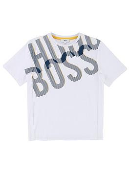 BOSS Boys Short Sleeve Side Print Logo T-shirt, White, Size 16 Years thumbnail