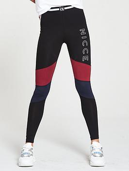 Nicce Logo Panelled Leggings - Multi