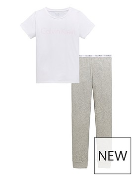 calvin-klein-girls-short-sleeve-pj-set