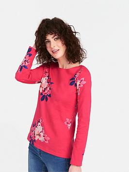 joules-harbour-print-long-sleeved-jersey-top-raspberry