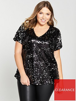v-by-very-curve-sequin-longline-top-blacksilvernbsp