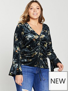 v-by-very-curve-ruched-printed-velvet-top-floral