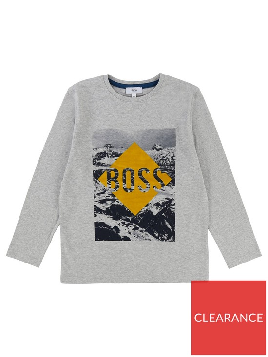8761a31a0 BOSS Boys Long Sleeve Flock Print T-Shirt - Light Grey Marl | very.co.uk