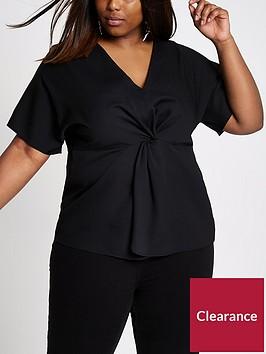 ri-plus-front-knot-kimono-blouse-black