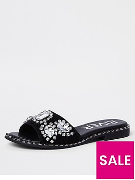 river-island-river-island-embellished-gem-sliders--black