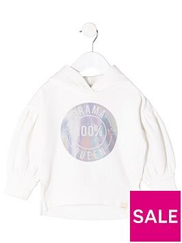 river-island-mini-girls-cream-039drama-queen039-hoodie