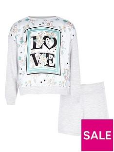 river-island-girls-grey-lsquoloversquo-panel-print-pyjama-set