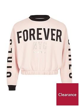 river-island-girls-pink-lsquoforeverrsquo-sweatshirt
