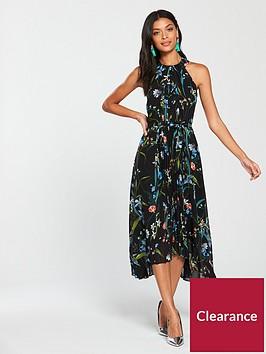 karen-millen-passionflower-print-pleated-dress-blacknbsp