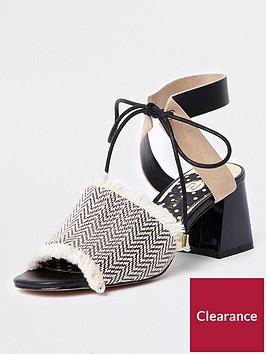 river-island-canvas-weave-block-heel-mule-sandal-monochrome