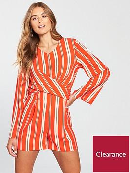 miss-selfridge-stripe-cross-front-playsuit-orange