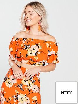 miss-selfridge-miss-selfridge-petite-orange-printed-bardot