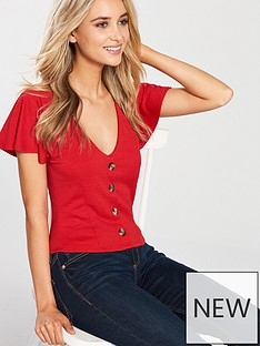 miss-selfridge-button-through-v-neck-jersey-top-red